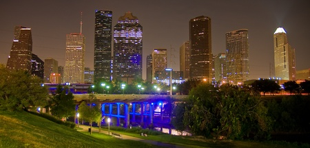 city park skyline: Downtown Houston and Sabine Bridge