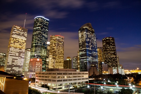 Downtown Houston at night photo