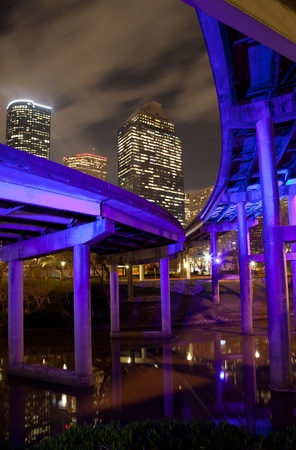 houston: Overpass and downtown Houston