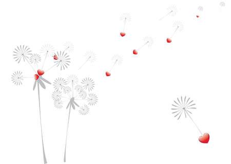dandelion with hearts Vector