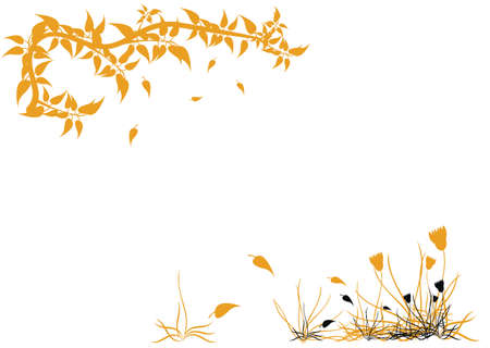 background with flowers, grass and leaves Illustration