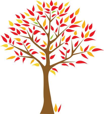 tree growing: red and arange tree Illustration