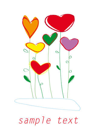 beautiful abstract bright heart flowers on white background