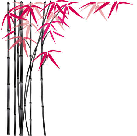 bamboo leaves: background with black bamboo and red leaves. illustration