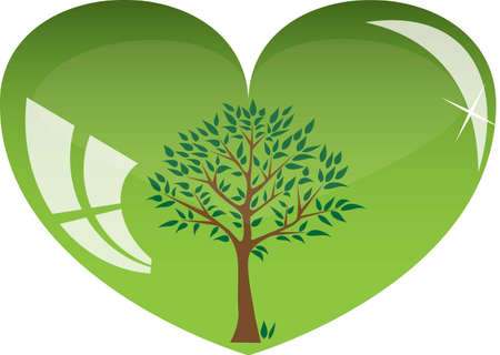 green heart with tree inside Illustration