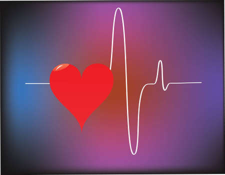 heart and heartbeat symbol Illustration