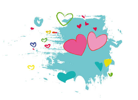 white, red, yellow, green, and blue hearts on blue brushstroke background.  Illustration