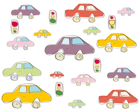 Seamless toy car pattern  Vector