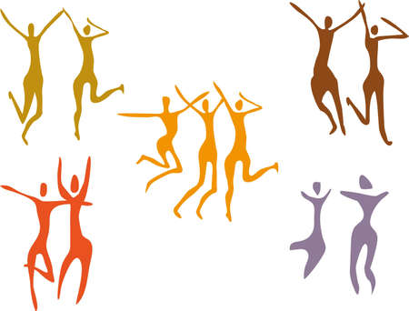 set of Abstract colorful dancing figures