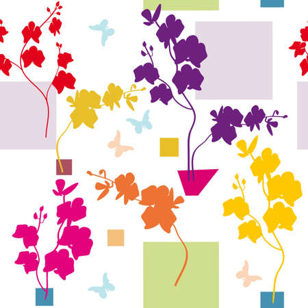 Seamless floral orchid pattern  Illustration