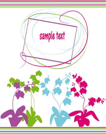 card with orchid  Vector