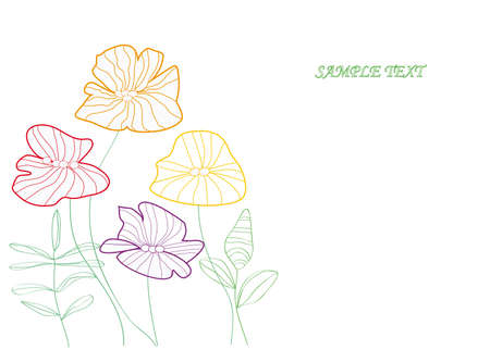 Greeting card with flowers, vector  Illustration