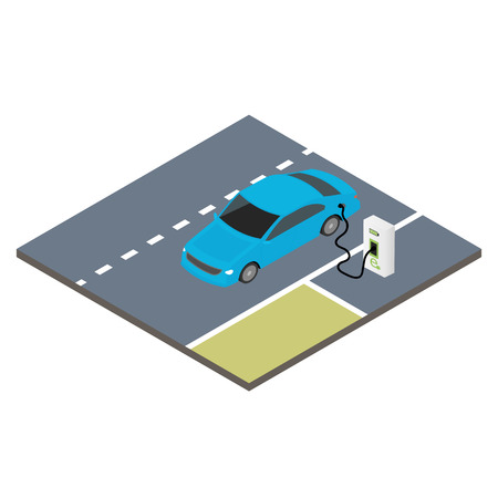Isometrische pictogram elektrische auto. Stock Illustratie