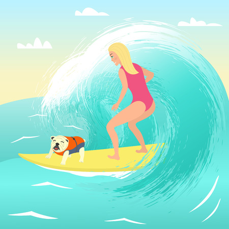 Girl on surfboard with dog.