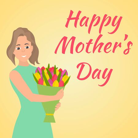 happy woman: Happy Mothers Day. Woman with beautiful colorful flower.