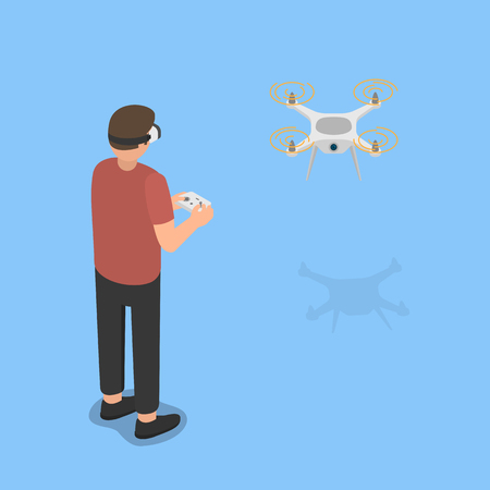 Using virtual reality glasses to control the flight of a drone.