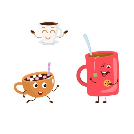 Set of funny characters from hot drink. Illustration