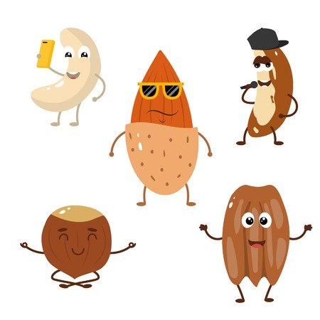 Set of funny characters from nuts.