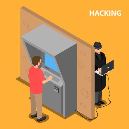 El ladrón piratea el software y el sistema de terminales de pago. Vector ilustración isométrica. Ilustración de vector