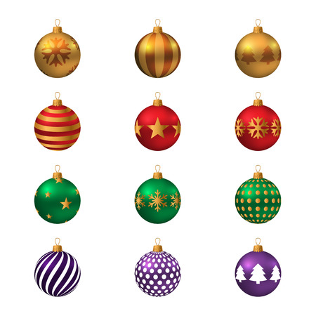 Set of realistic colored Christmas balls. Vector illustration.