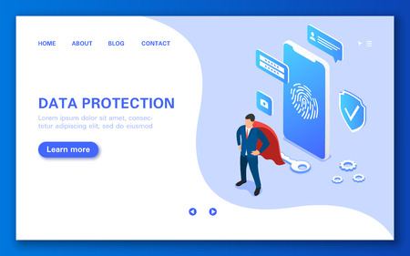 Banner of a mobile application for protecting user data from intruders and virus attacks. Vector flat isometric illustration.