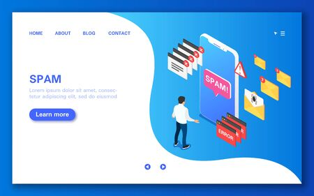 SPAM. Concept banner in flat isometric view. Illustration