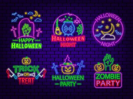 Halloween party. A set of neon signs on a dark brick background.