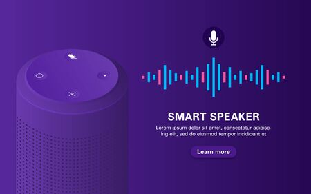 Portable speaker with voice assistant on purple background with logo.