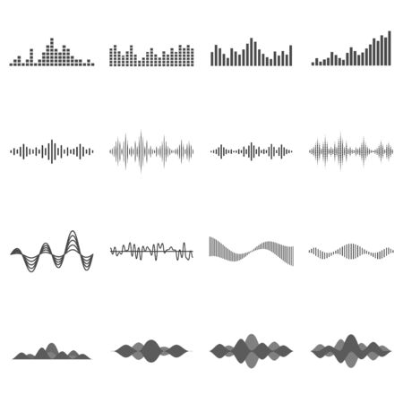 Set of black isolated sound waves on white background. Çizim