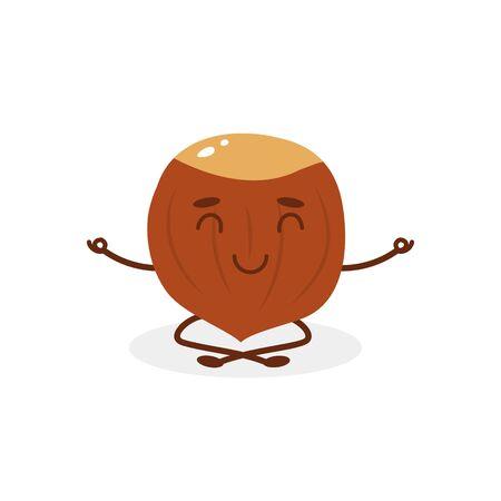 Funny cartoon character from hazelnut, who meditates. 向量圖像