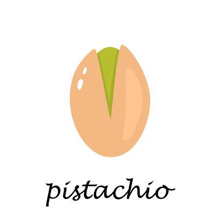 Pistachio on white background in cartoon style. Flat vector illustration.