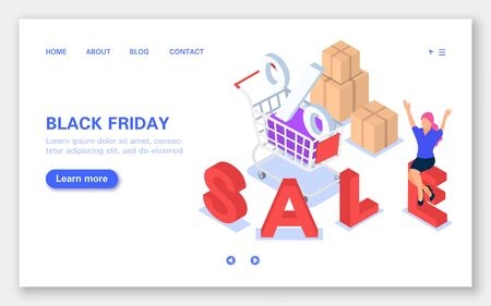 Black Friday banner. Sale, cart with boxes, discounts. Joyful girl sitting on the letter.