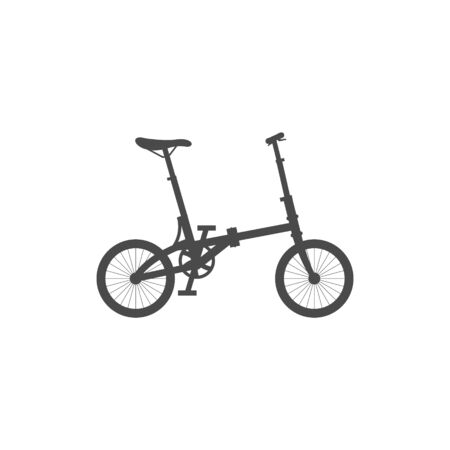 Foldable compact bike. Simple isolated icon on a white background. Flat vector illustration.