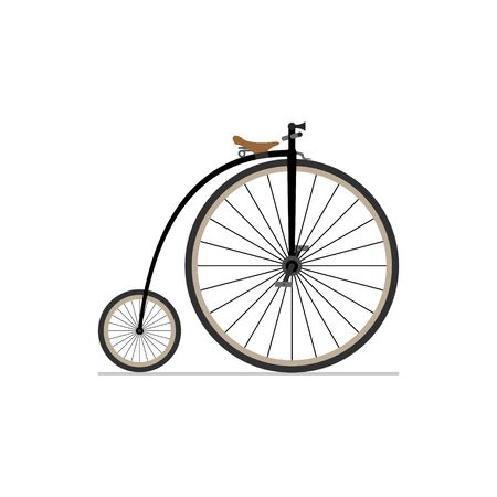 Penny Farthing bike flat isolated icon on white background. Vector illustration.