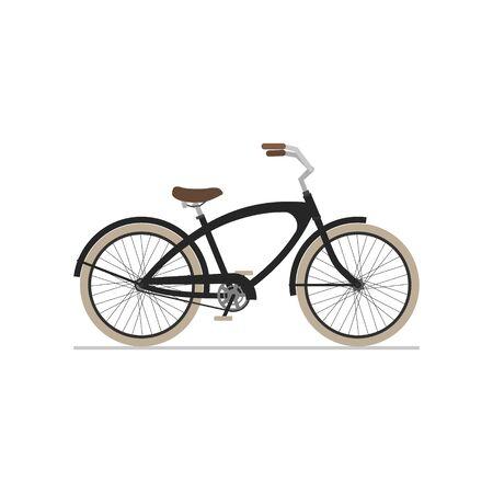 Male cruiser bike flat isolated icon on white background. Vector illustration.