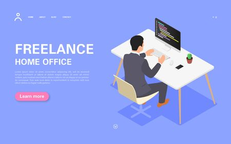 Remote work banner concept. A man works on a computer at his desk. Vector isometric illustration on a white background.