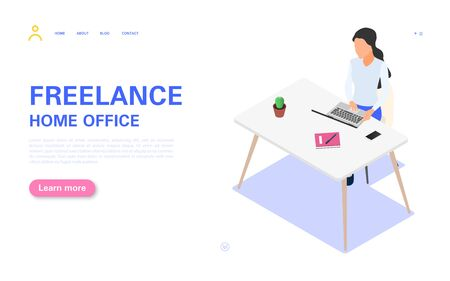 Remote work banner concept. A woman works on a laptop at her desk. Vector isometric illustration on a white background. Illustration