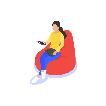 Girl is studying online courses on a tablet computer. Home schooling, retraining, specialization. Vector isometric illustration on a white background.