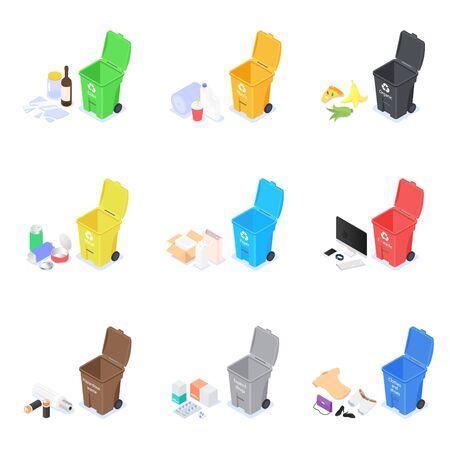 Set of icons on a white background on the topic of waste sorting and recycling. Vector isometric illustration. Illustration