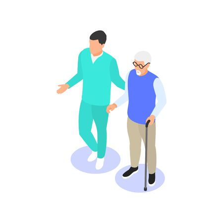 Medical staff helps an elderly man with a cane to move around. Vector isometric illustration.