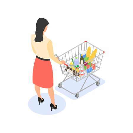 Isolated woman with a grocery cart on a white background. Vettoriali