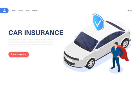 Car insurance concept. The insurance agent guarantees vehicle protection.