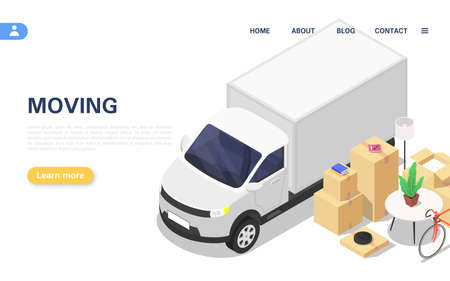 Home moving concept. A lorry and a set of packed boxes with various household items. Illusztráció