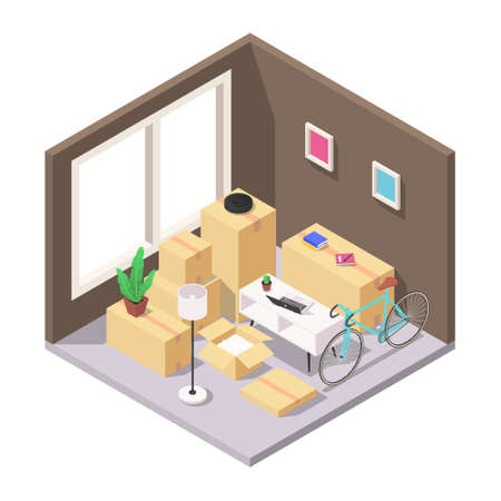 Home moving concept. A set of packed boxes with furniture, household appliances and other household items in the room.