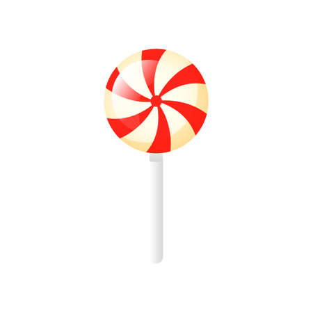 Isolated cartoon lollipop with red stripes on a white background.