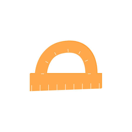 Isolated protractor icon on white background.