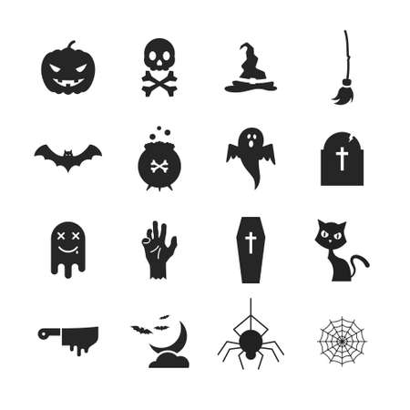 Set of simple isolated halloween icons on white background. 向量圖像