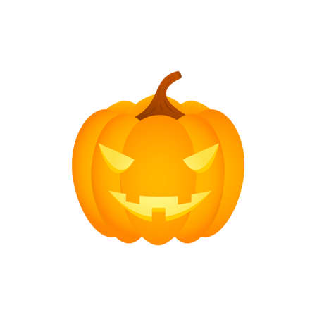 Isolated halloween pumpkin head on white background. 向量圖像