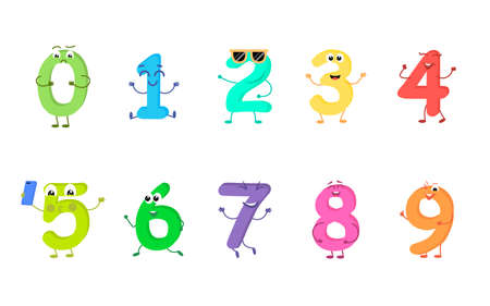 Set of funny cartoon characters from numbers isolated on white background. Illustration