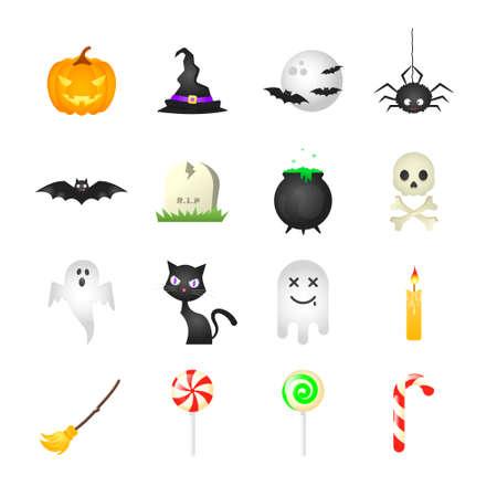 Set of isolated cartoon halloween icons on white background.